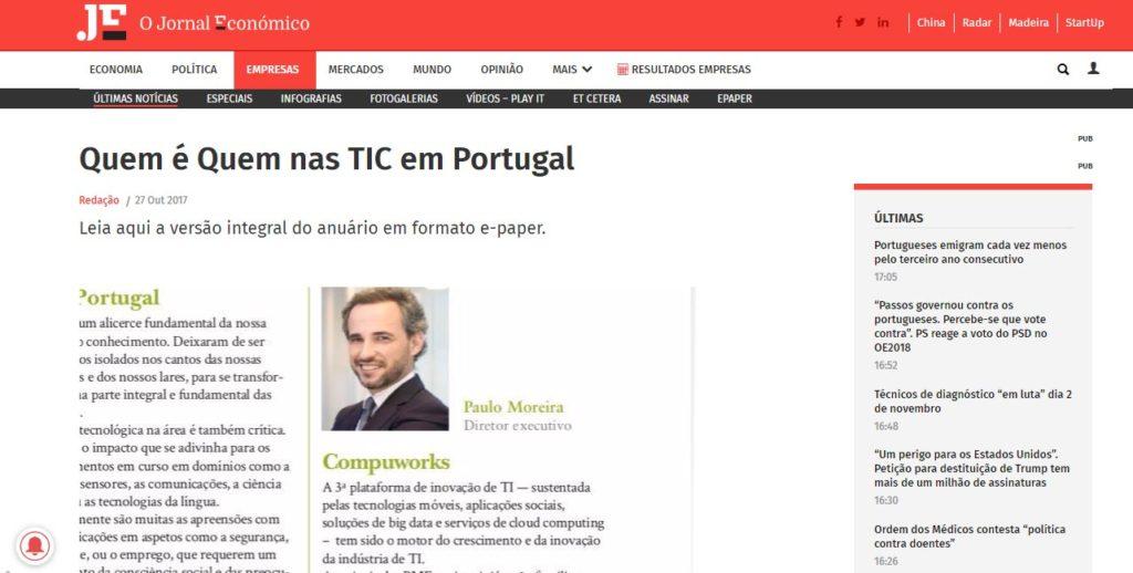 """Compuworks - anuário """"Quem é quem nas TIC em Portugal"""" do Jornal Económico"""
